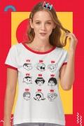 Camiseta Ringer Feminina Turma da Mônica Donas da Rua Rostinhos