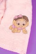 Manta Soft Microfibra Baby Bordado Mônica