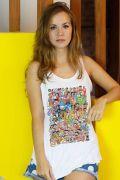 Regata Premium Feminina Mauricio de Sousa 80 Anos Colors