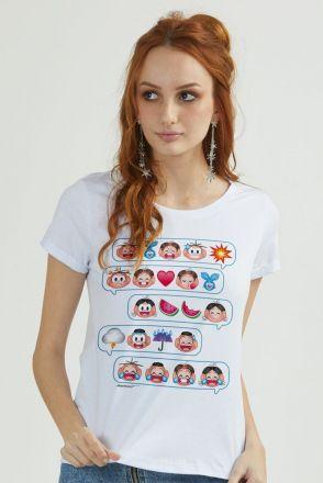 Camiseta Feminina Turma da Mônica Emoji