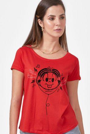 Camiseta Feminina Turma da Mônica Ouvindo Música