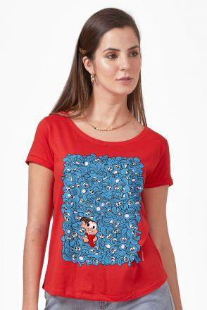 Camiseta Feminina Turma da Mônica Sansão e Mônica