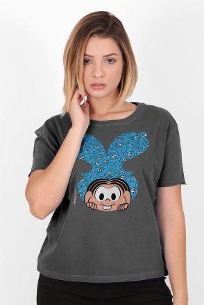 Camiseta Feminina Turma da Mônica Sansão e Mônica Orelhas