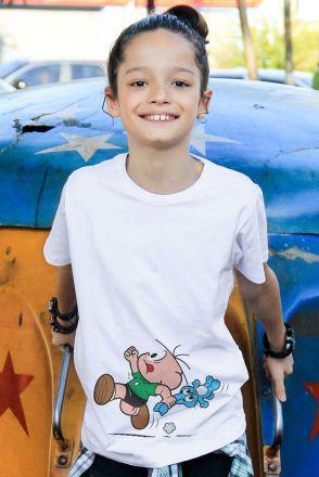 Camiseta Infantil Turma da Mônica Cebolinha Fugindo