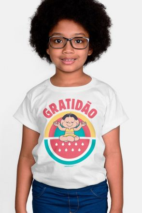Camiseta Infantil Turma da Mônica Magali Gratidão