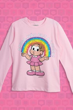 Camiseta Manga Longa Infantil Turma da Mônica Denise Amiga, Não faz a Louca!
