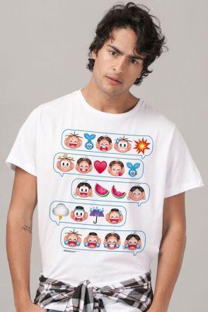 Camiseta Masculina Turma da Mônica Emoji