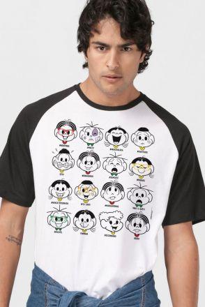 Camiseta Raglan Masculina Turma da Mônica Faces