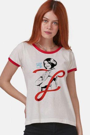 Camiseta Ringer Feminina Turma da Mônica Laços Mônica Laço
