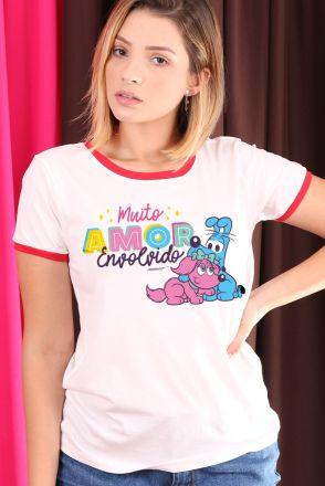 Camiseta Ringer Feminina Turma da Mônica Muito Amor