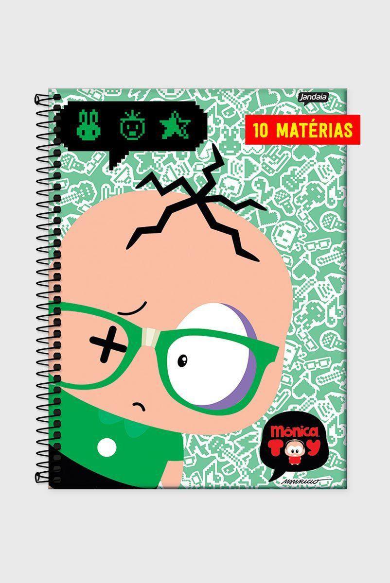 Caderno Turma da Mônica Toy Cebolinha Nerd 10 Matérias