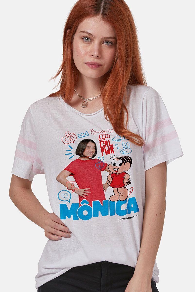 Camiseta Athletic Feminina Turma da Mônica Laços Mônica GRL PWR