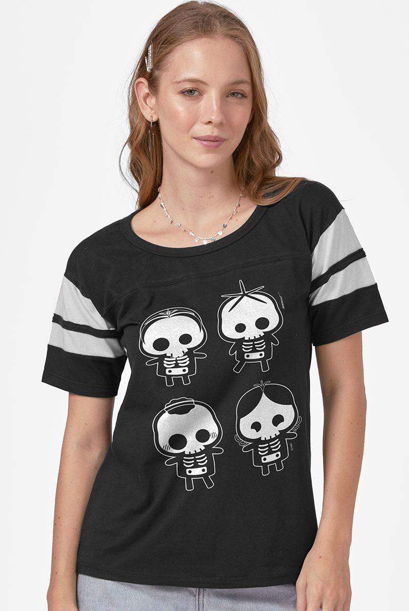 Camiseta Athletic Feminina Turma da Mônica Skull