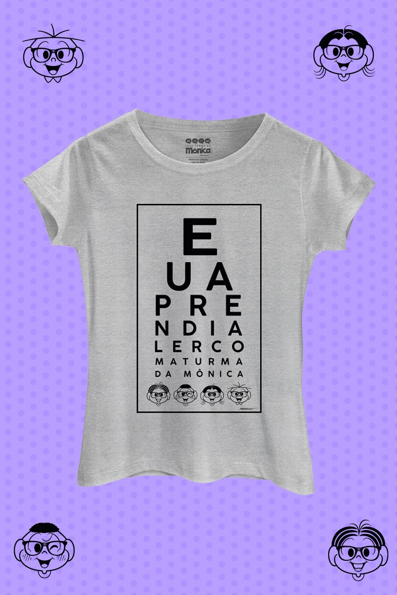 Camiseta Feminina Eu Aprendi a Ler Com a Turma da Mônica