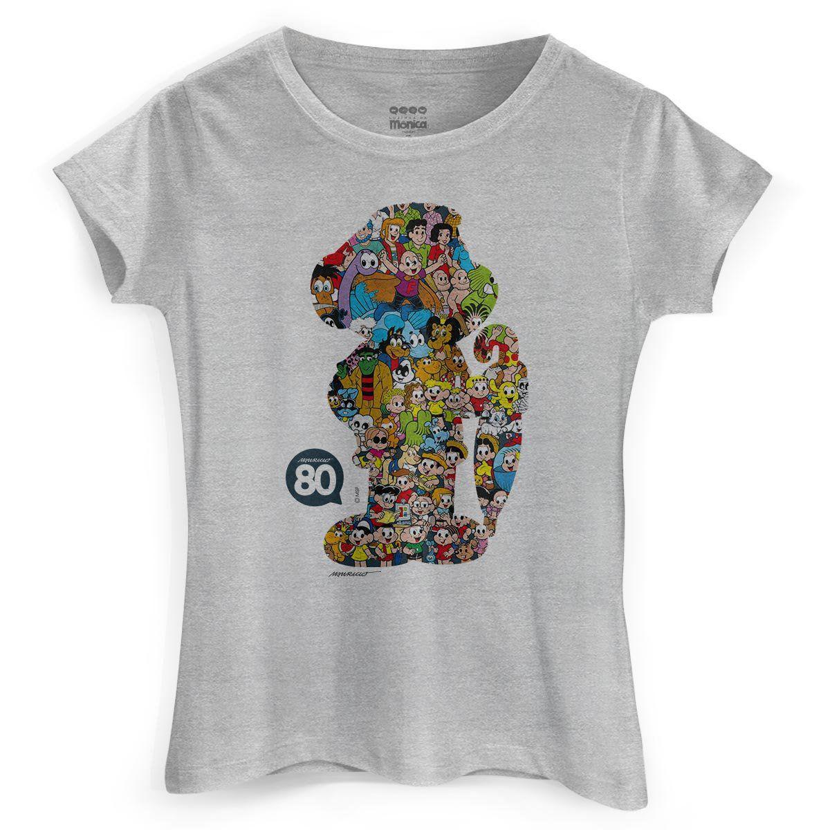 Camiseta Feminina Maurício de Sousa 80 Anos Cascão