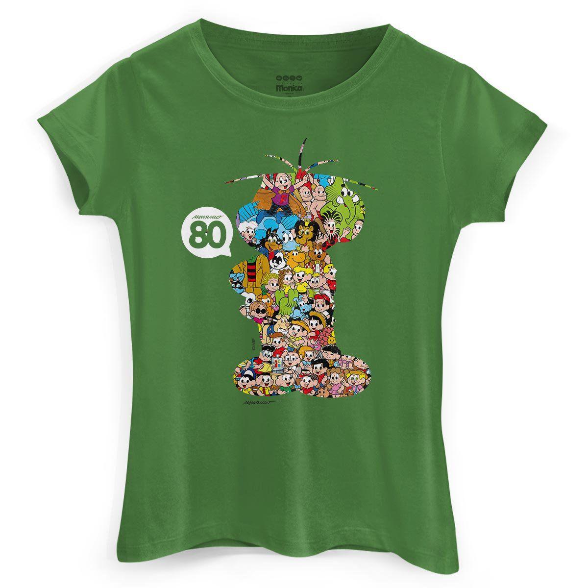 Camiseta Feminina Maurício de Sousa 80 Anos Cebolinha
