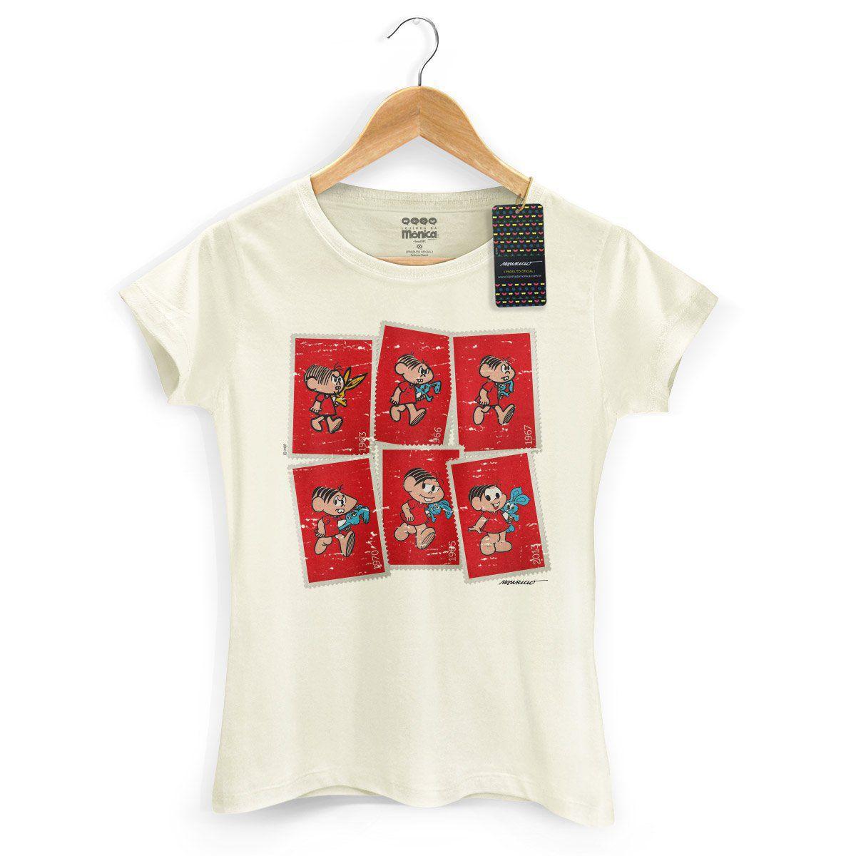 Camiseta Feminina Turma da Mônica 50 Anos Evolução Modelo 3