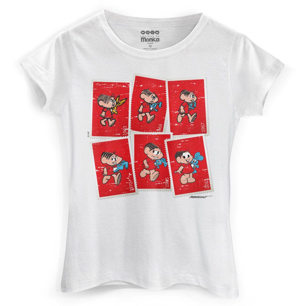 Camiseta Feminina Turma da Mônica 50 Anos Evolução Modelo 4