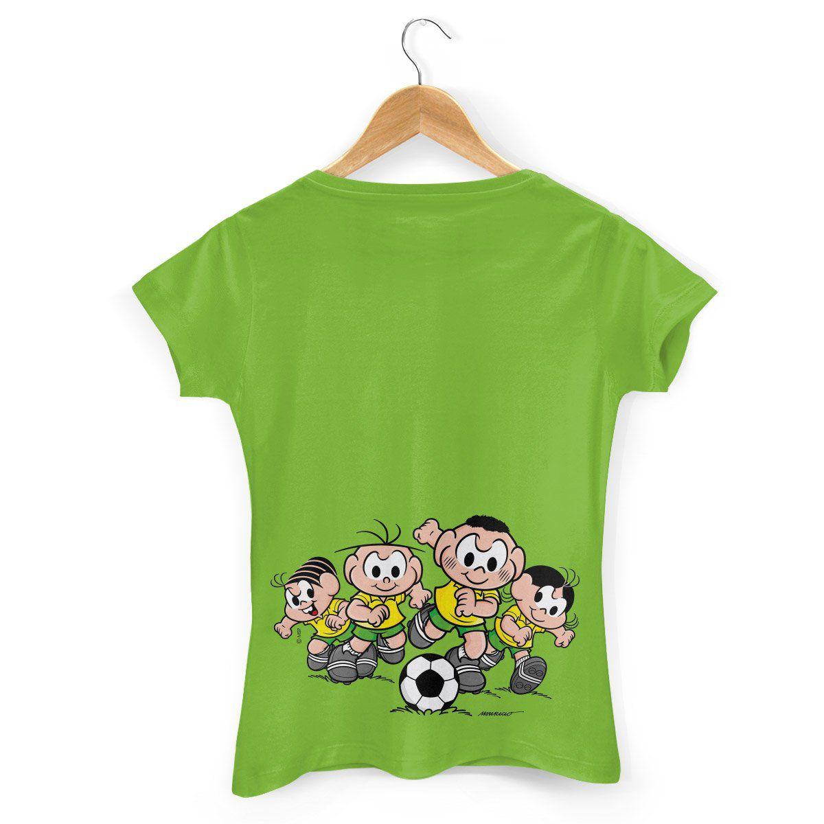 Camiseta Feminina Turma da Mônica Brasão Mônica e Cebolinha
