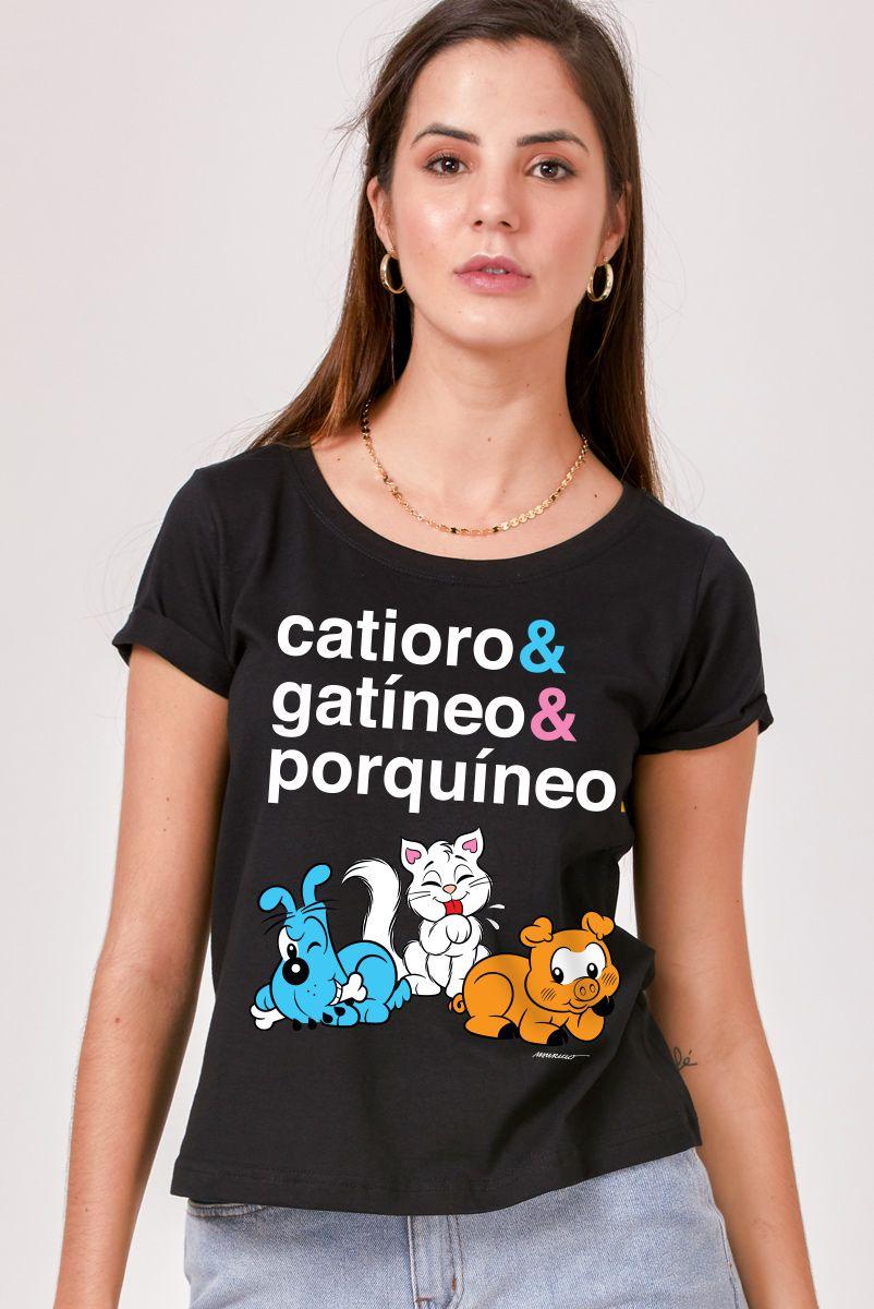 Camiseta Feminina Turma da Mônica Catioro e Gatíneo e Porquíneo