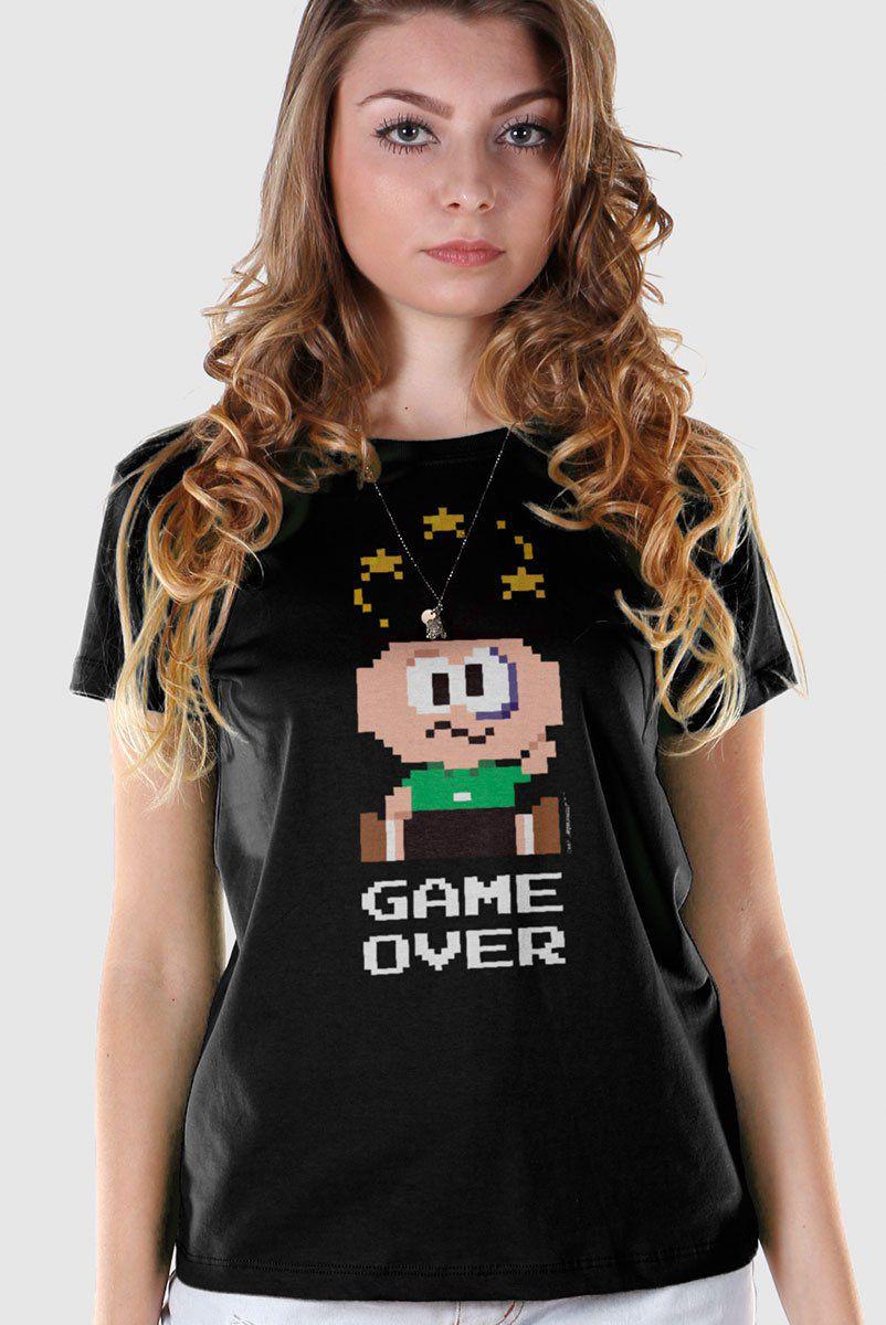 Camiseta Feminina Turma da Mônica Cebolinha Game Over