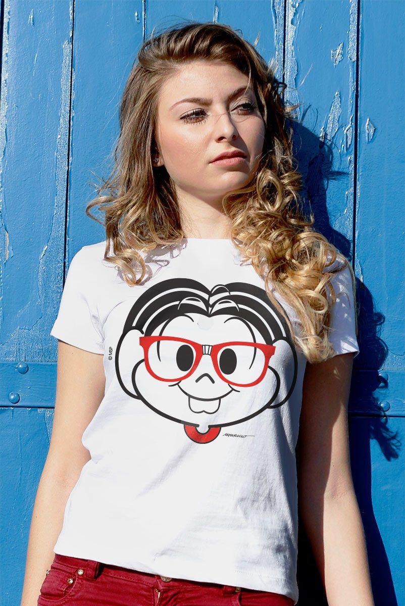 Camiseta Feminina Turma da Mônica Nerd