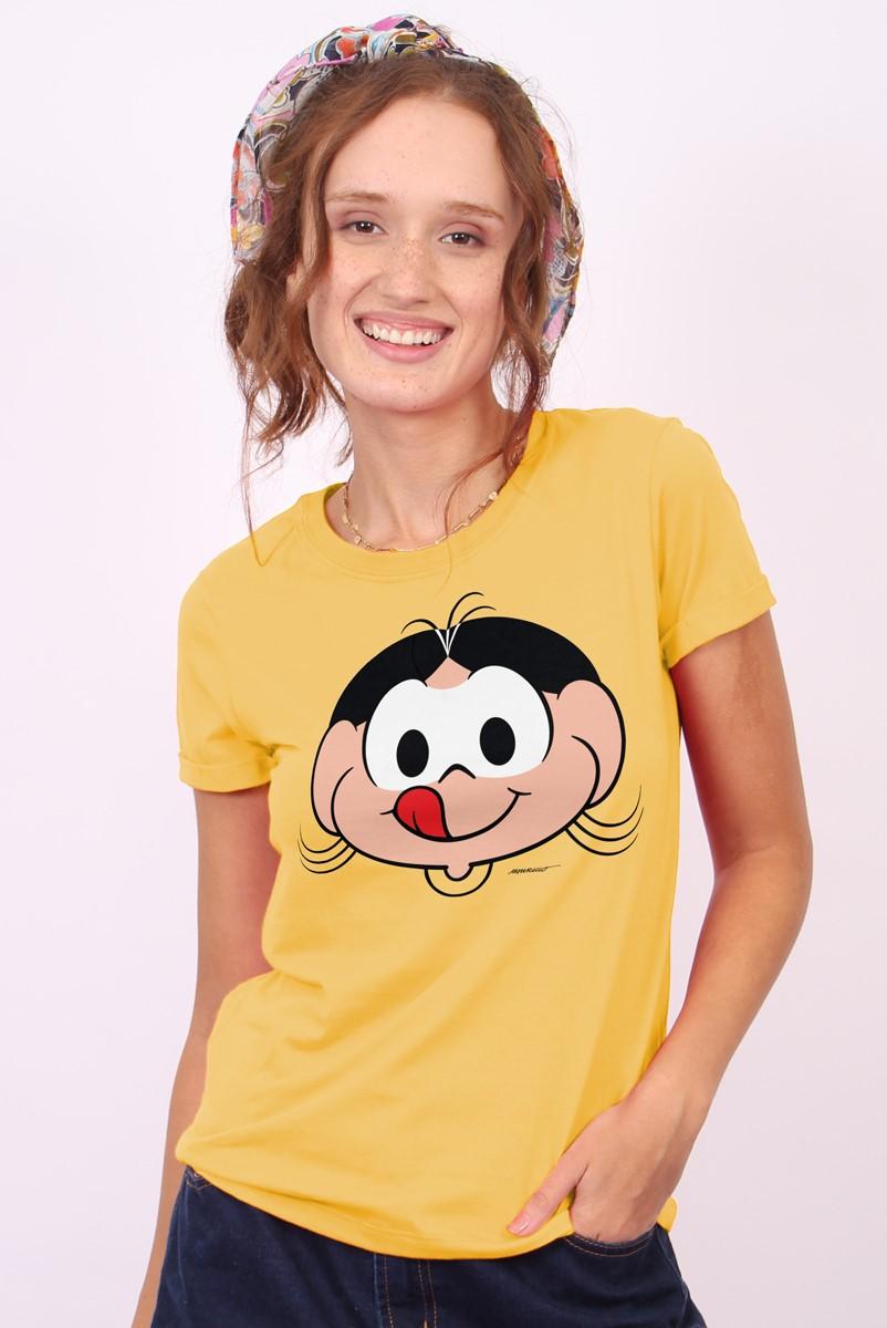 Camiseta Feminina Turma da Mônica Rostinhos Magali