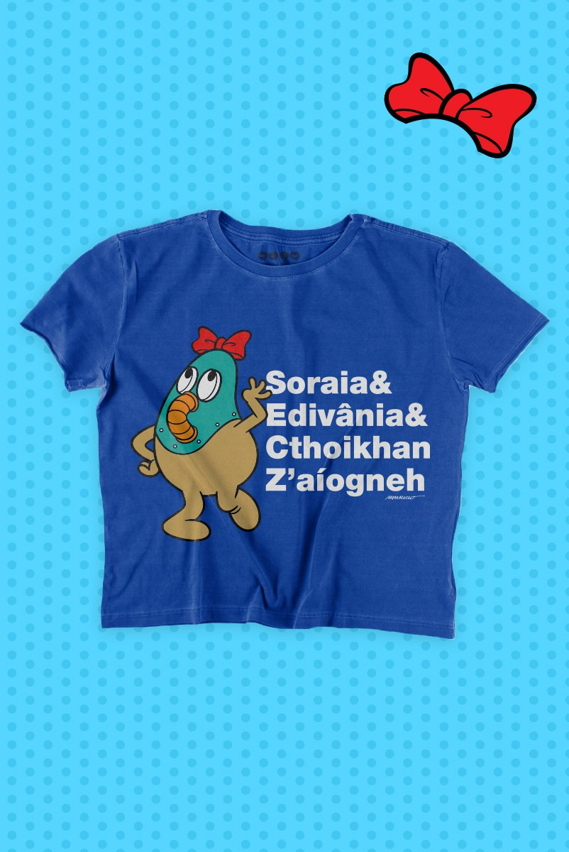 Camiseta Feminina Turma da Mônica Soraia e Edivânia e Cthoikan Z'aíogneh