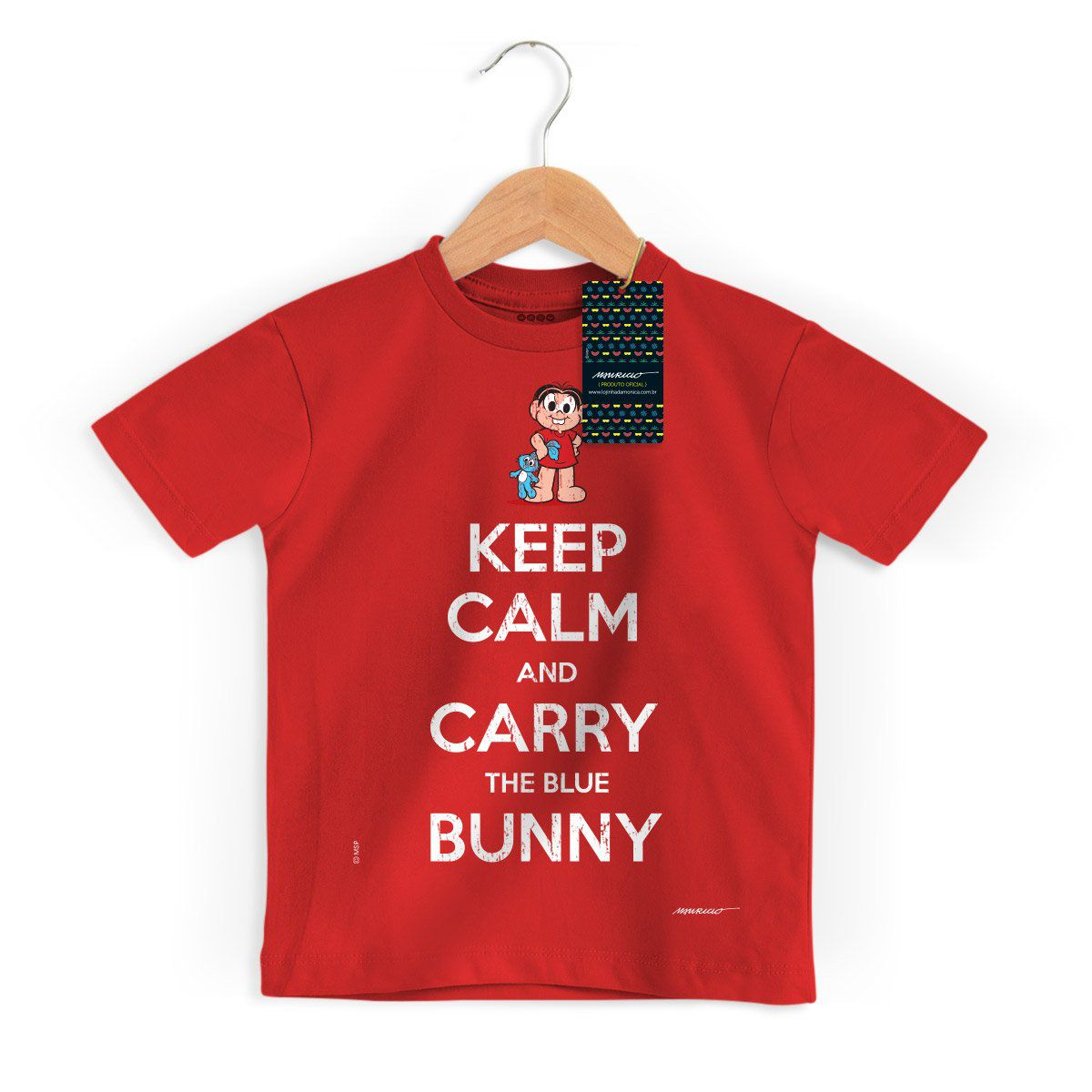 Camiseta Infantil Turma da Mônica Cool Keep Calm And Carry The Blue Bunny
