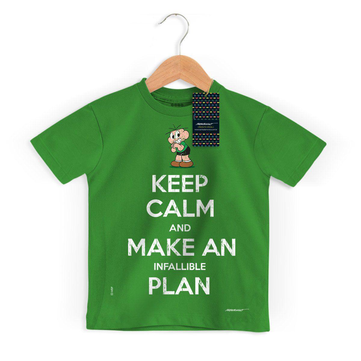 Camiseta Infantil Turma Da Mônica Cool Keep Calm And Make Infallible Plan