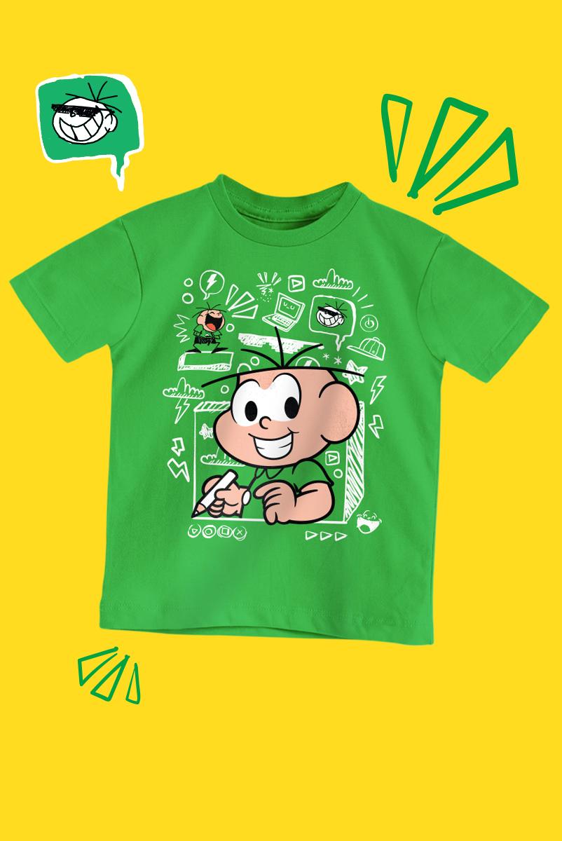 Camiseta Infantil Turma da Mônica Desenhos do Cebolinha