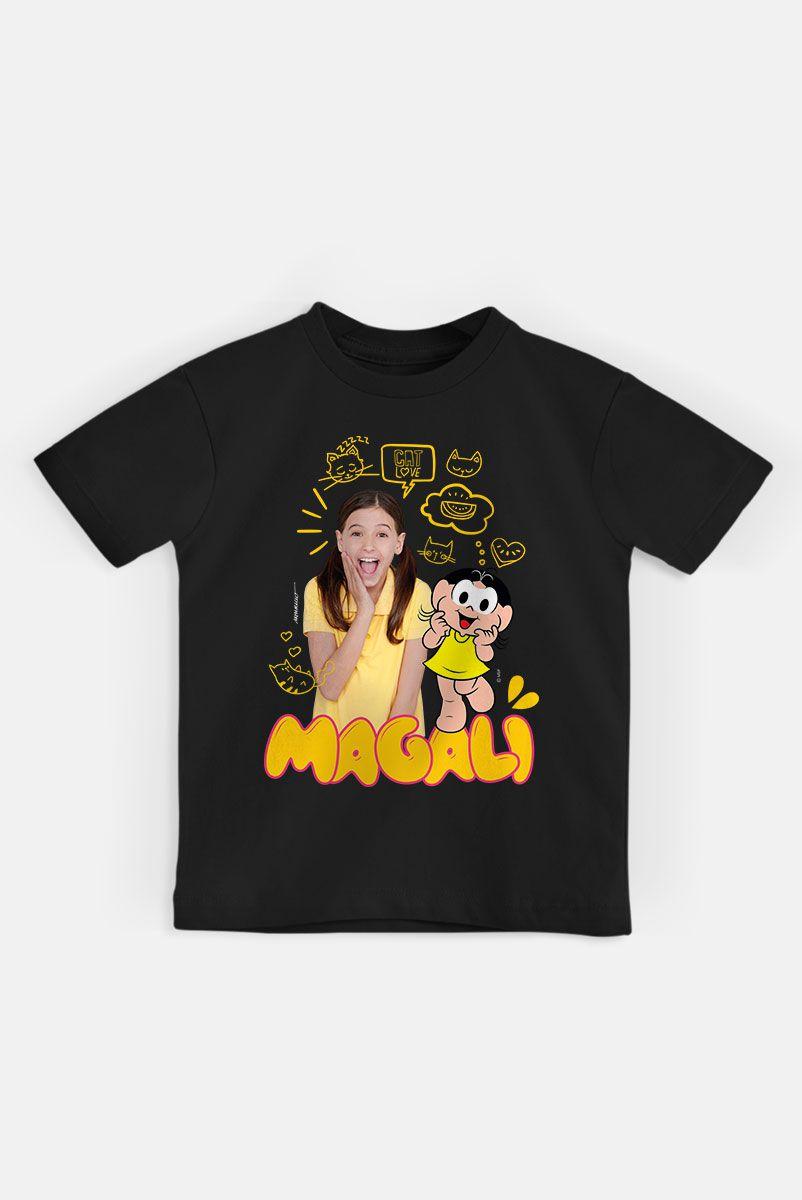 NÃO DISPONIBILIZAR Camiseta Infantil Turma da Mônica Laços Magali em Dose Dupla