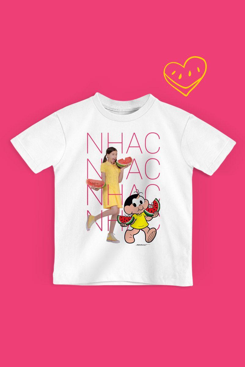 NÃO DISPONIBILIZAR Camiseta Infantil Turma da Mônica Laços Magali NHAC