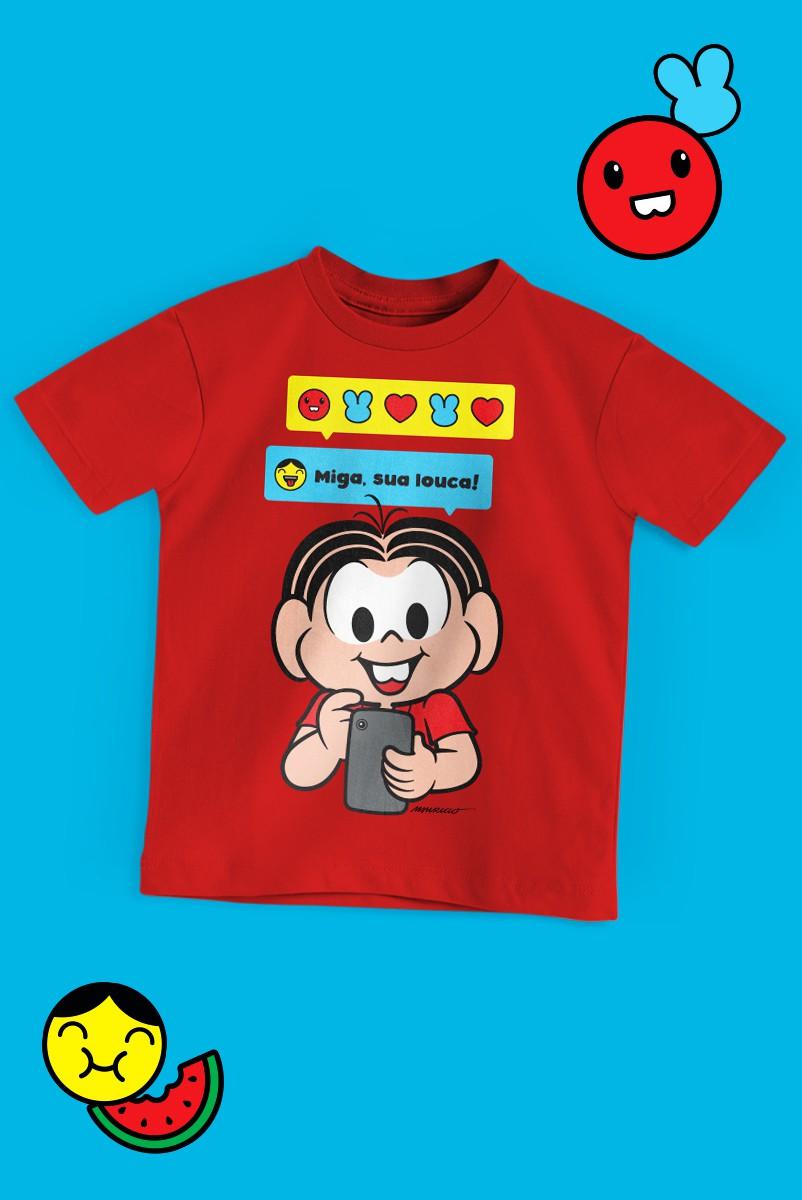Camiseta Infantil Turma da Mônica Miga, Sua Louca