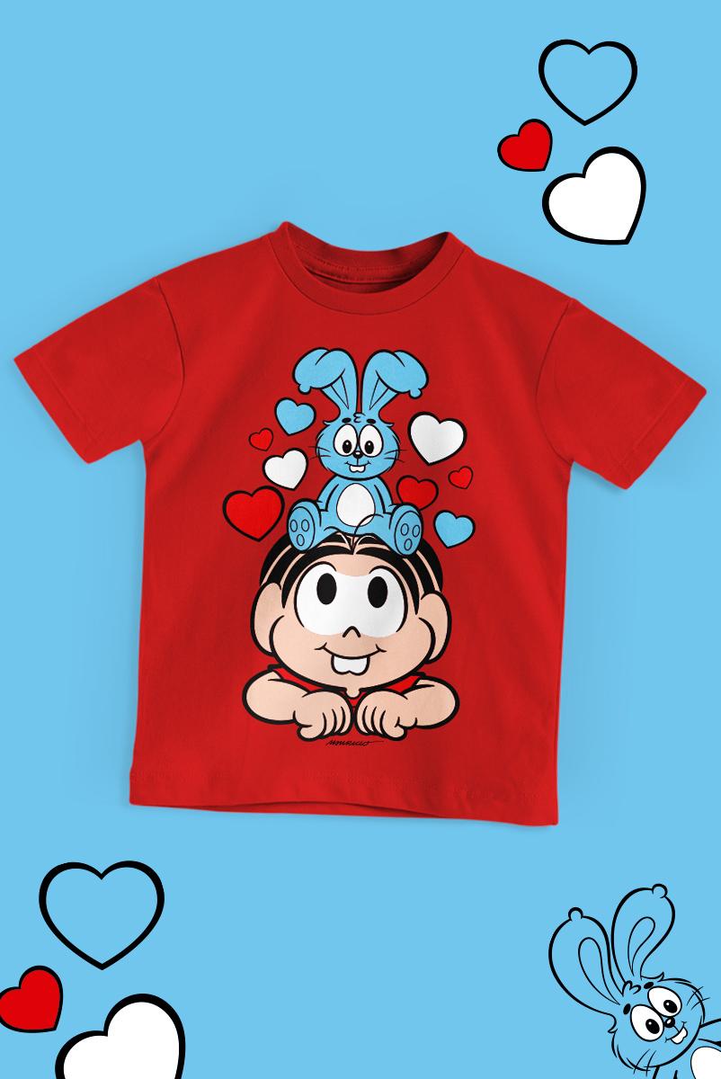 Camiseta Infantil Turma da Mônica Sansão e Mônica Amigos