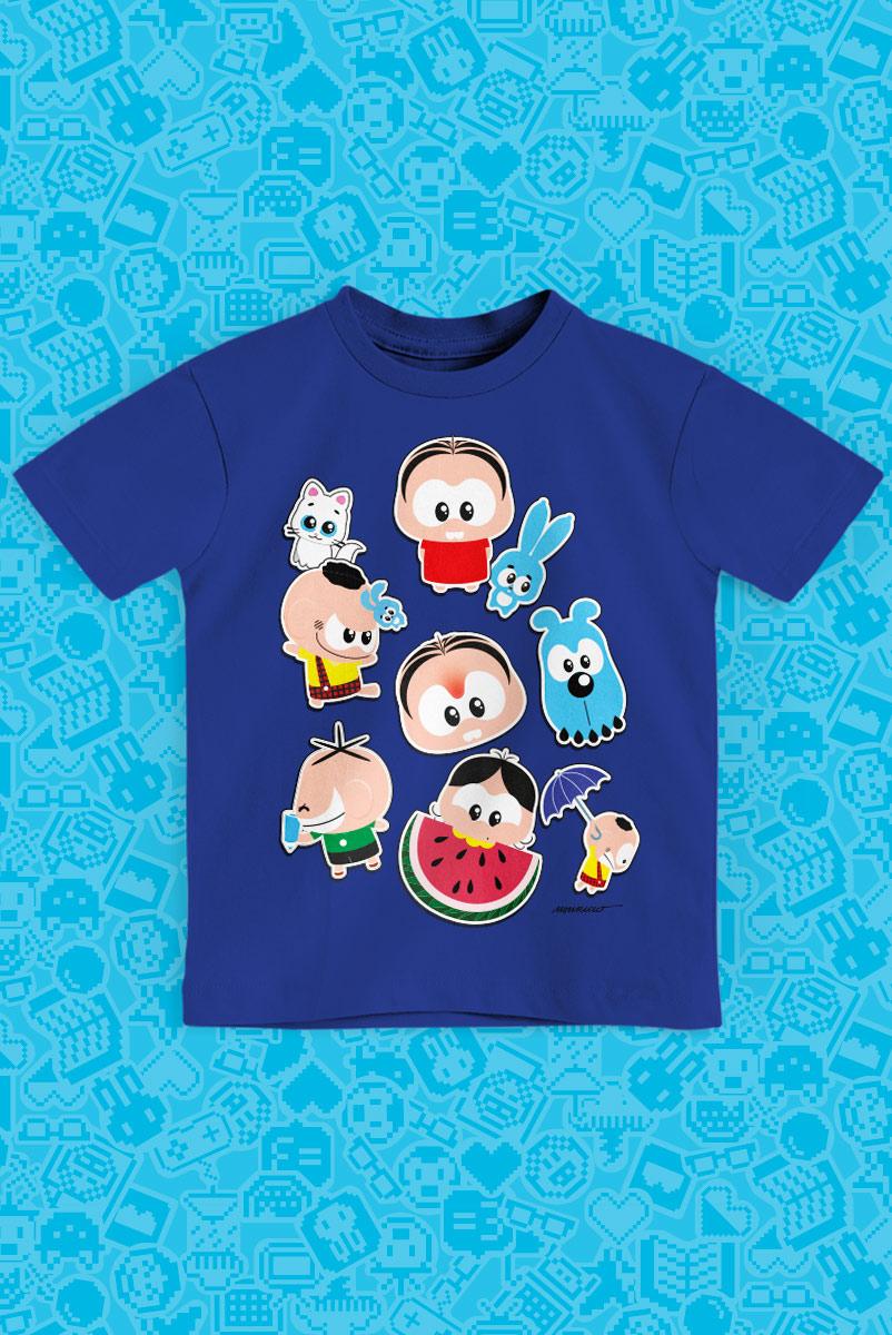 Camiseta Infantil Turma da Mônica Toy Figurinhas