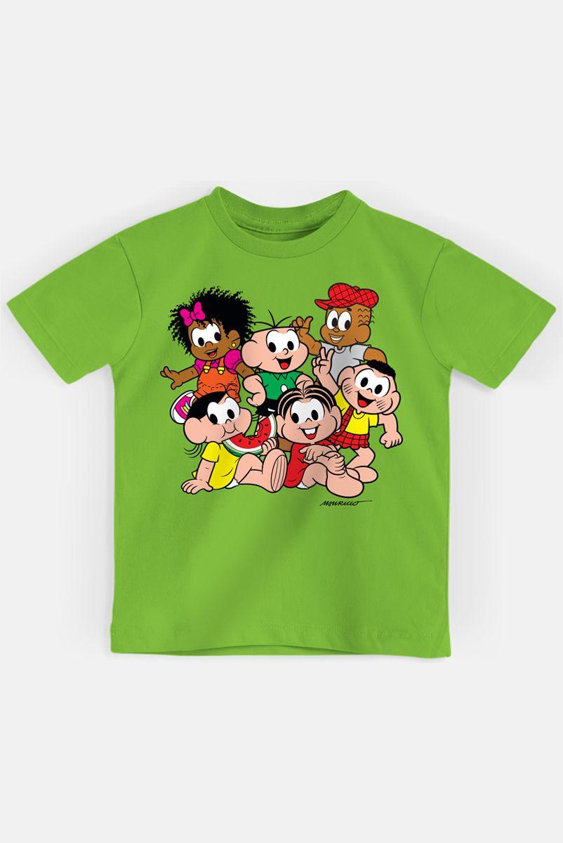 Camiseta Infantil Turma da Mônica Turminha Reunida