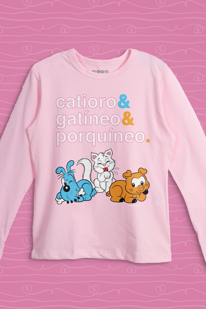 Camiseta Manga Longa Infantil Turma da Mônica Catioro & Gatíneo & Porquíneo