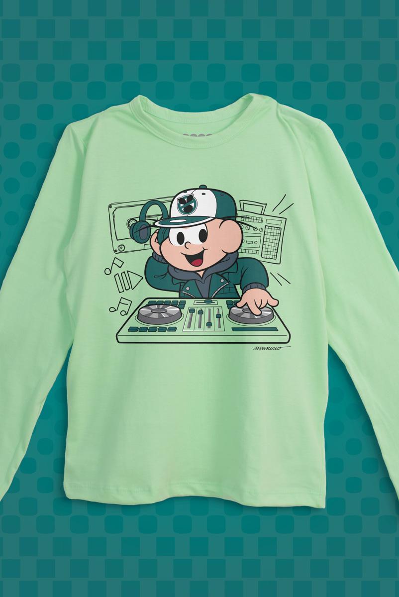 Camiseta Manga Longa Infantil Turma da Mônica Cebolinha DJ