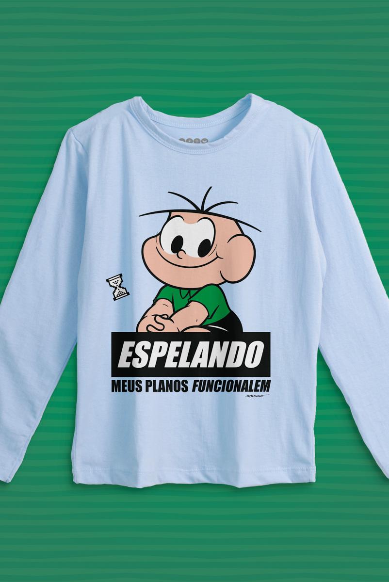 Camiseta Manga Longa Infantil Turma da Mônica Cebolinha Espelando
