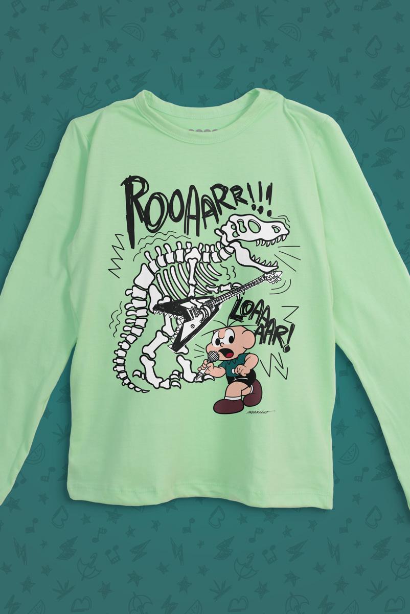 Camiseta Manga Longa Infantil Turma da Mônica Cebolinha Roar