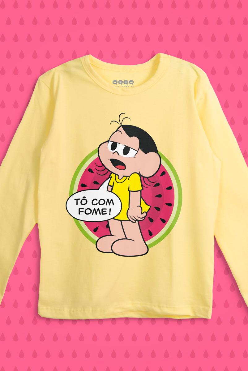 Camiseta Manga Longa Infantil Turma da Mônica Magali Tô com Fome