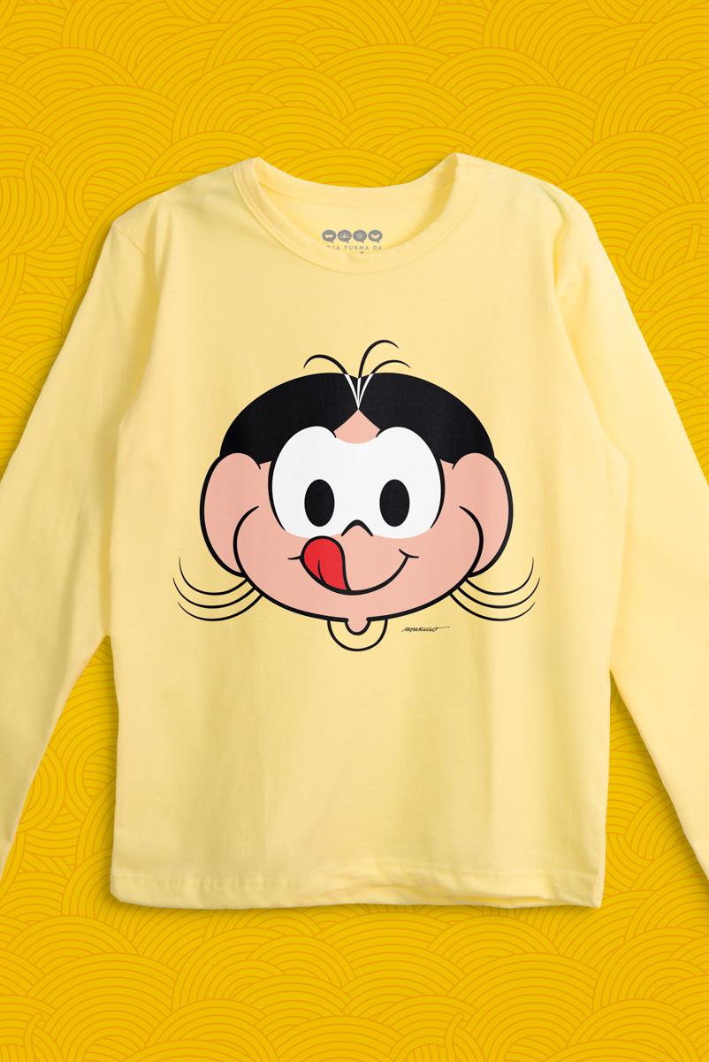 Camiseta Manga Longa Infantil Turma da Mônica Rostinho Magali