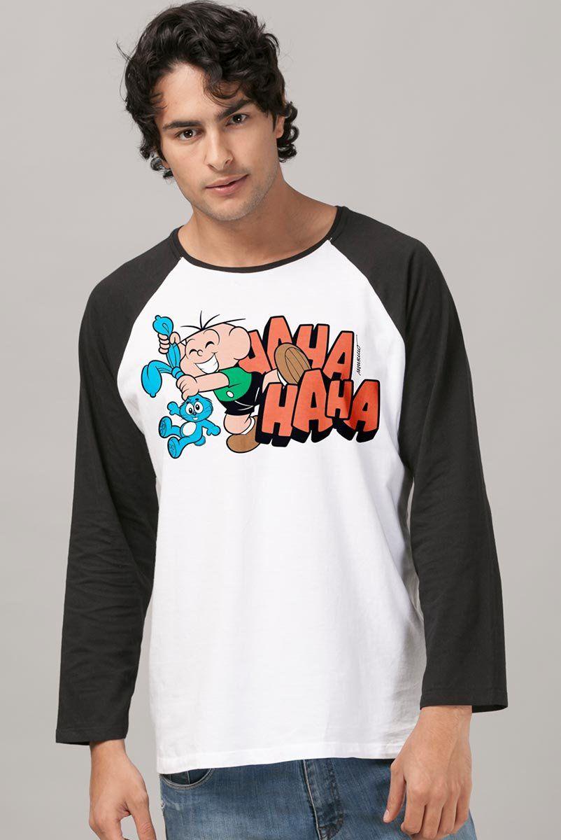 Camiseta Manga Longa Masculina Turma da Mônica Cebolinha Hahahaha