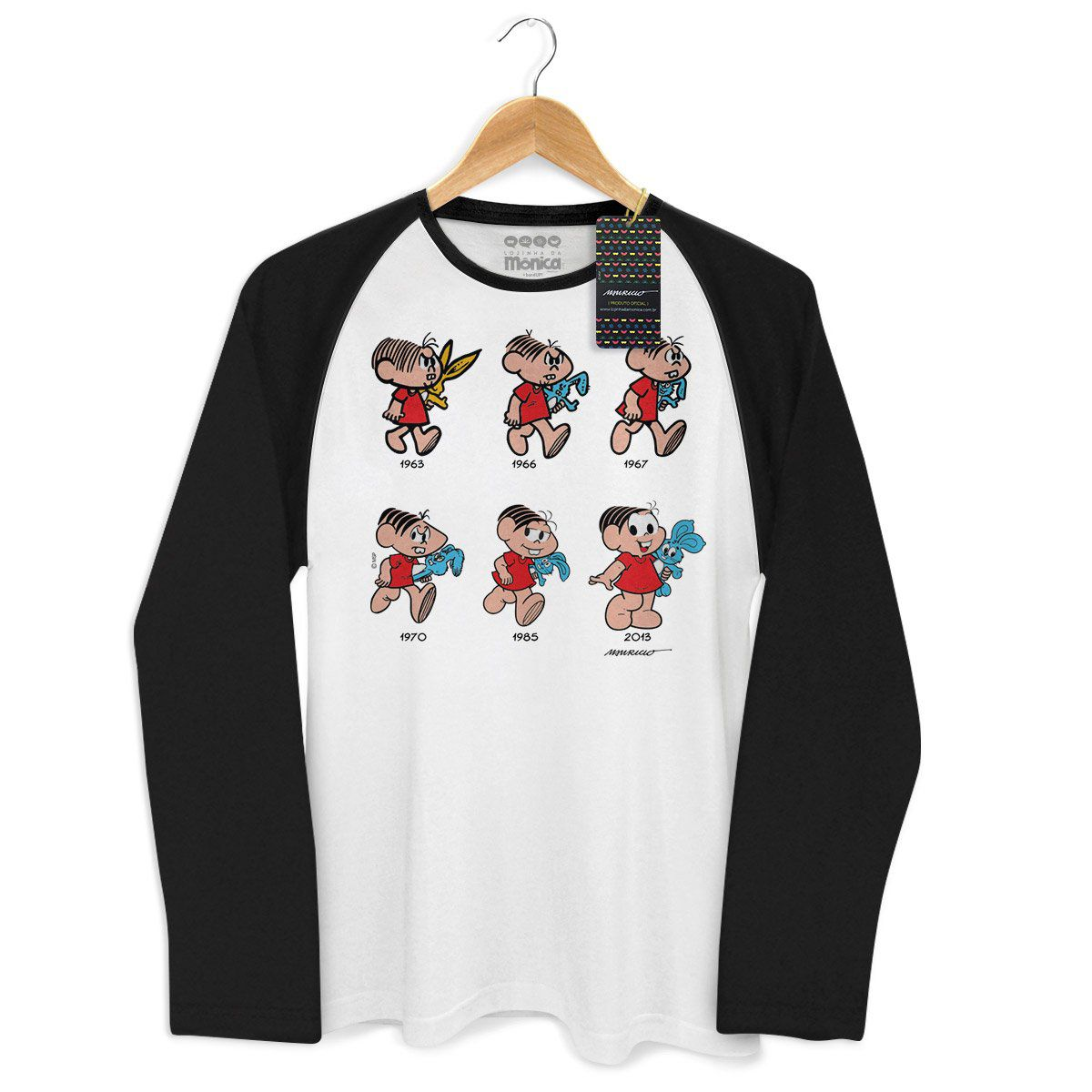Camiseta Raglan Masculina Turma da Mônica 50 Anos Evolução Modelo 9