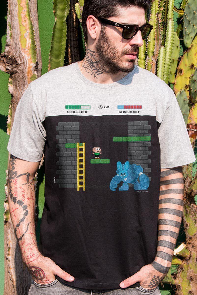 Camiseta Masculina BiColor Turma da Mônica Cebolinha SansãoBot