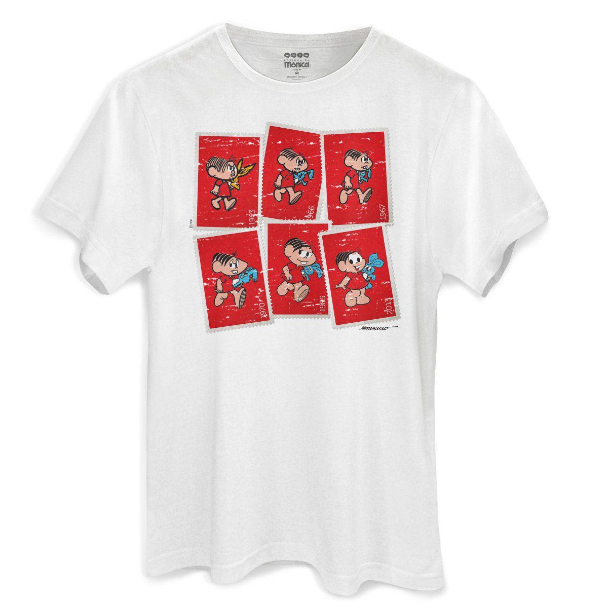 Camiseta Masculina Turma da Mônica 50 Anos Evolução Modelo 4