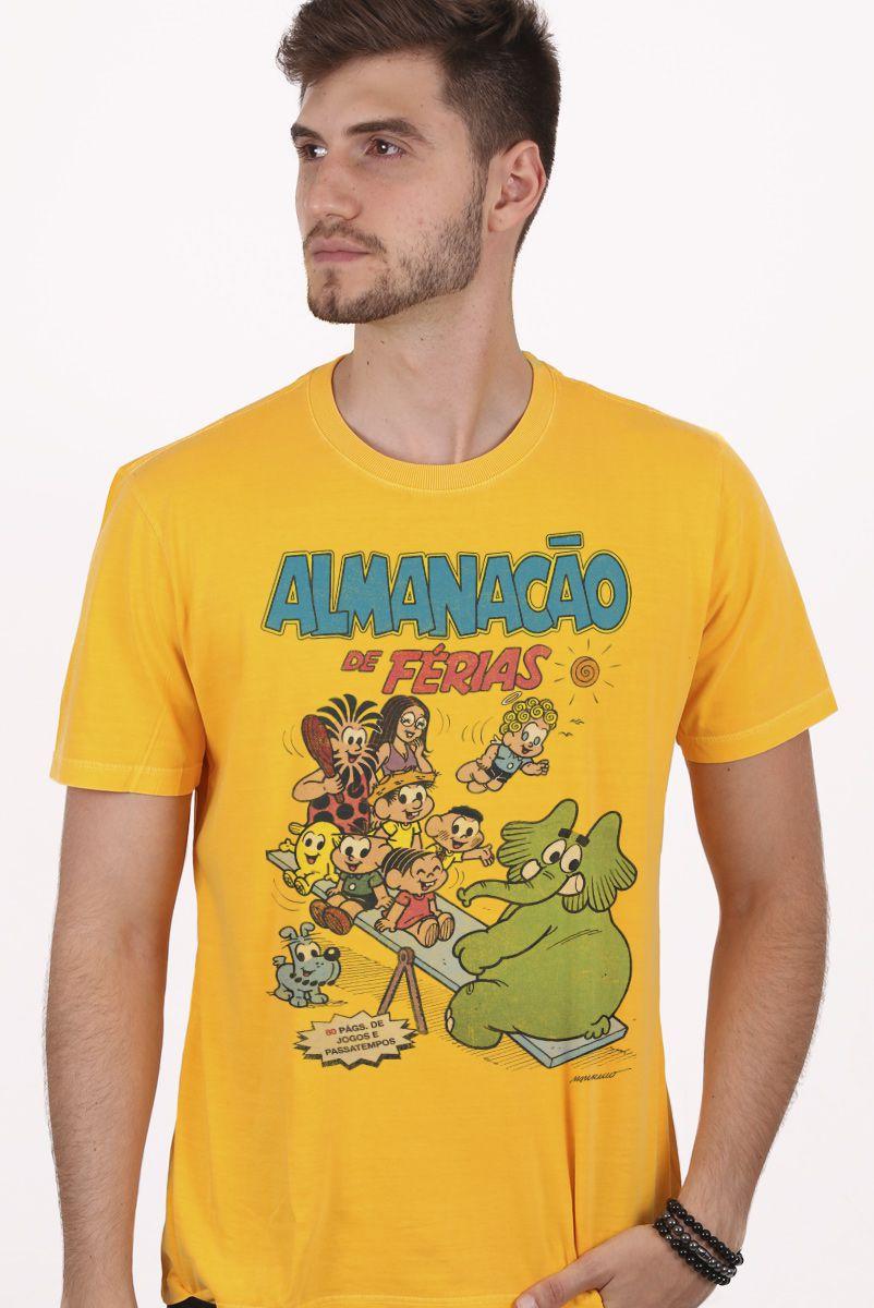 Camiseta Masculina Turma da Mônica Almanacão de Férias