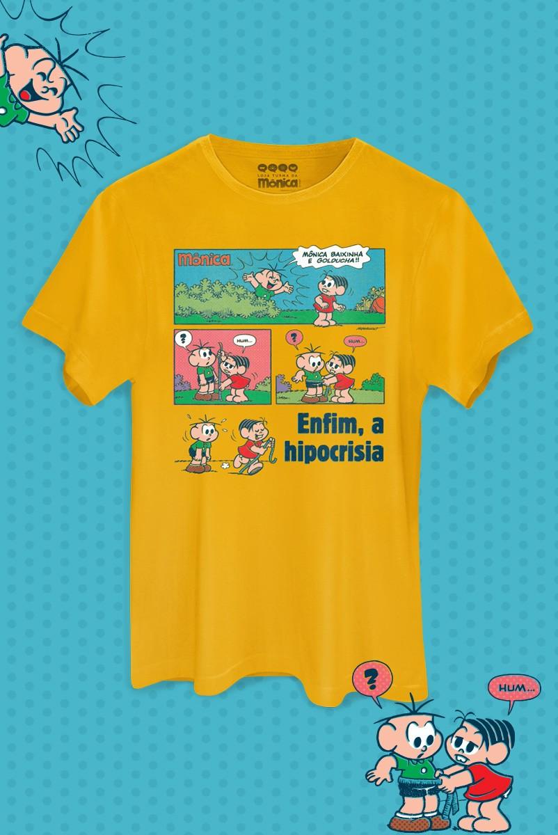 Camiseta Masculina Turma da Mônica Enfim, a Hipocrisia
