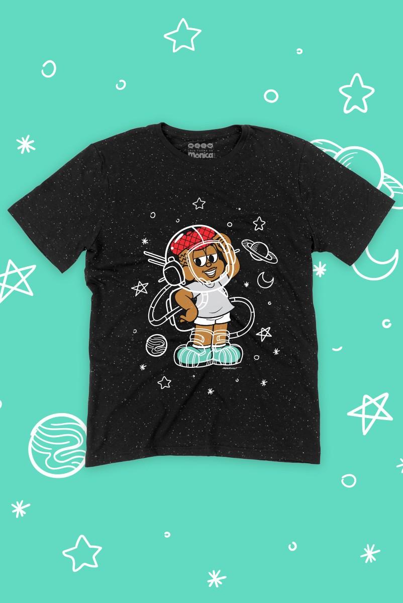 Camiseta Masculina Turma da Mônica Jeremias Astronauta